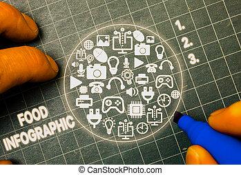 palavra, represente, usado, visual, texto, escrita, infographic., information., alimento, diagrama, imagem, conceito, tal, negócio