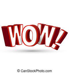 palavra, surpreender, mostrar, grande, wow, 3d, algo, letras, surpresa, espantoso, terrível, vermelho, assombro