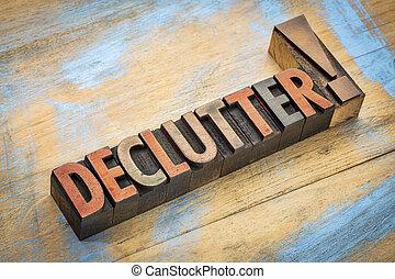 palavra, tipo, madeira, declutter