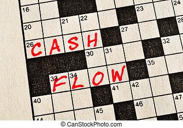 palavras cruzadas, fluxo, dinheiro, palavras