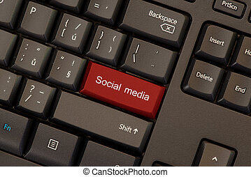 palavras, mídia, botão, social, pretas, tecla, teclado, vermelho