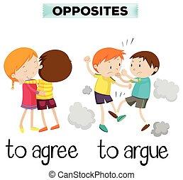 palavras, oposta, concorde, discuta
