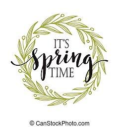 palavras, vetorial, wreath., primavera, ilustração