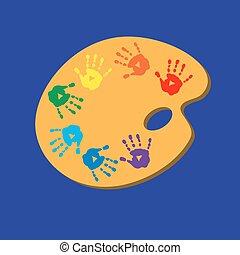 palette cor, cartão, impressões, palmas