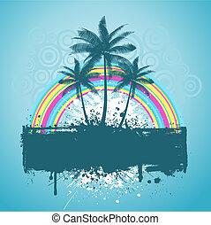 palma, grunge, árvore