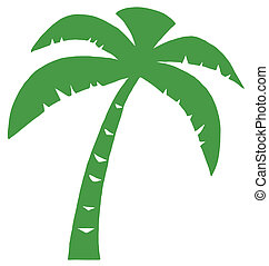 palma, verde, três, silueta