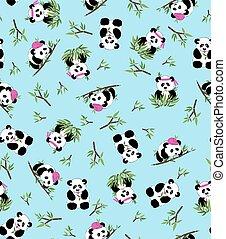 panda, 8, eps, azul, bambu, experiência., padrão