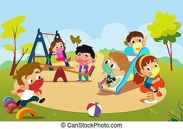pandemic, pátio recreio, tocando, crianças, ilustração, durante