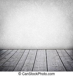 paneled, grunge, parede, chão, room., madeira, interior