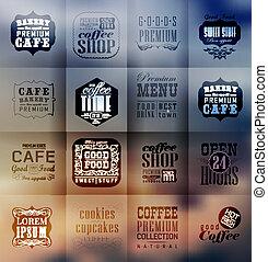panificadora, etiquetas, retro, tipografia