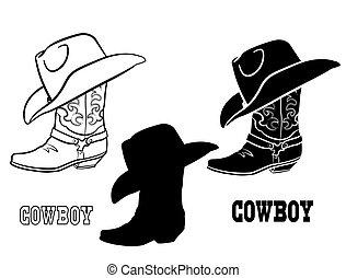 pano, ilustração, vetorial, botas, americano, ocidental, branca, gráfico, jogo, isolado, hat., boiadeiro