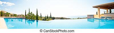 panorâmico, imagem, natação, pool., luxo