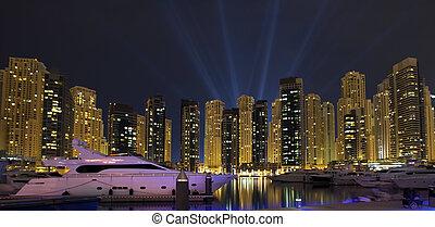 panorâmico, vista., city., noturna