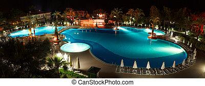 panorama, piscina, noturna