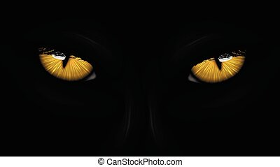 pantera, olhos, amarela, pretas
