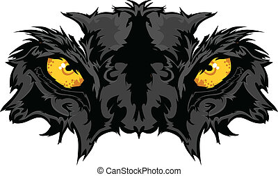 pantera, olhos, mascote, gráfico