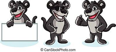 pantera, vetorial, pose, mascote