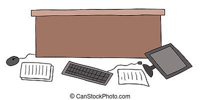 papeis, computador, sujo, ilustração, chão, caricatura, escrivaninha, escritório, vetorial