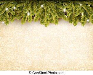 papel, antigas, natal, vector., experiência., decoração