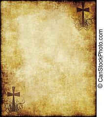 papel, antigas, pergaminho, crucifixos