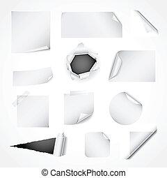papel, branca, projeto fixo, elementos