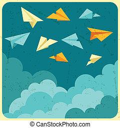 papel, céu, aviões, ilustração, clouds.