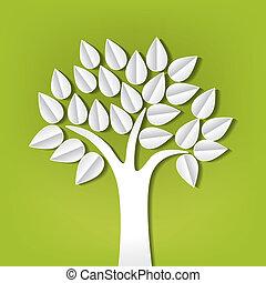 papel, corte, feito, árvore, saída