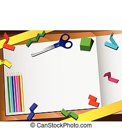 papel, experiência., corte, 3d, desktop