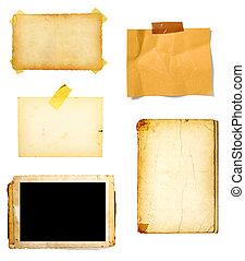 papel, experiência marrom, antigas, nota
