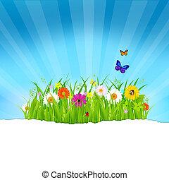 papel, flores, capim, verde