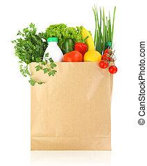 papel, fresco, saco, mantimentos, saudável