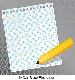 papel, lápis, pedaço