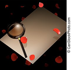 papel, pétalas, antigas, vermelho, magnifier