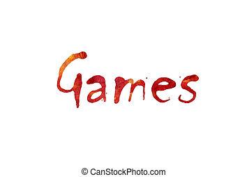 """papel, palavra, aquarela, """"games"""", fundo, branca, sobre, escrito"""