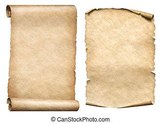 papel, scrolls, antigas, jogo, ilustração, 3d