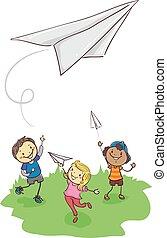 papel, tocando, vara, avião, crianças