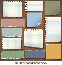 papel, vário, notas
