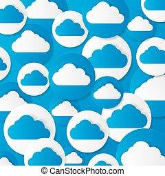 papel, vetorial, illustration., clouds.