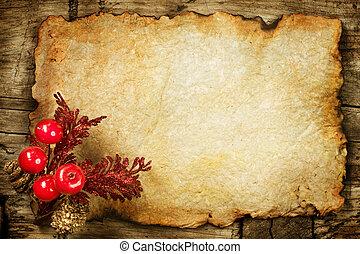 paper., antigas, decorações, copyspace, natal