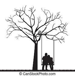 par, árvore, sob