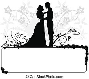 par, casório, silhuetas
