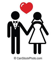 par, casado, casório, ícone