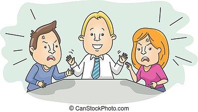 par, discuta, mediador