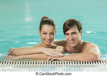 par, jovem, piscina, natação