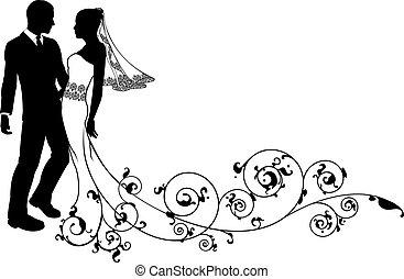 par, noivo, casório, noiva, silueta