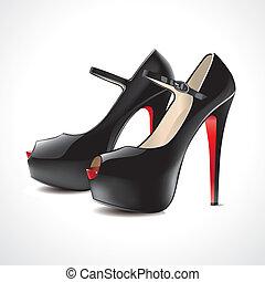 par, ope, pretas, sapatos, alto-colocar salto* no* sapato*