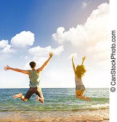 par, pular, praia, jovem, feliz