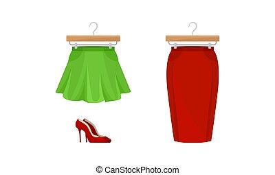par, roupa, vetorial, mulher, jogo, madeira, alto, chamejado, saia, cabide, sapatos, heeled