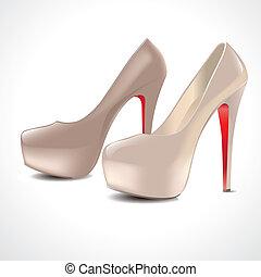 par, sapatos, alto-colocar salto* no* sapato*