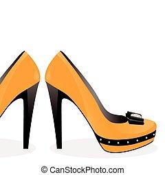 par, sapatos, amarela